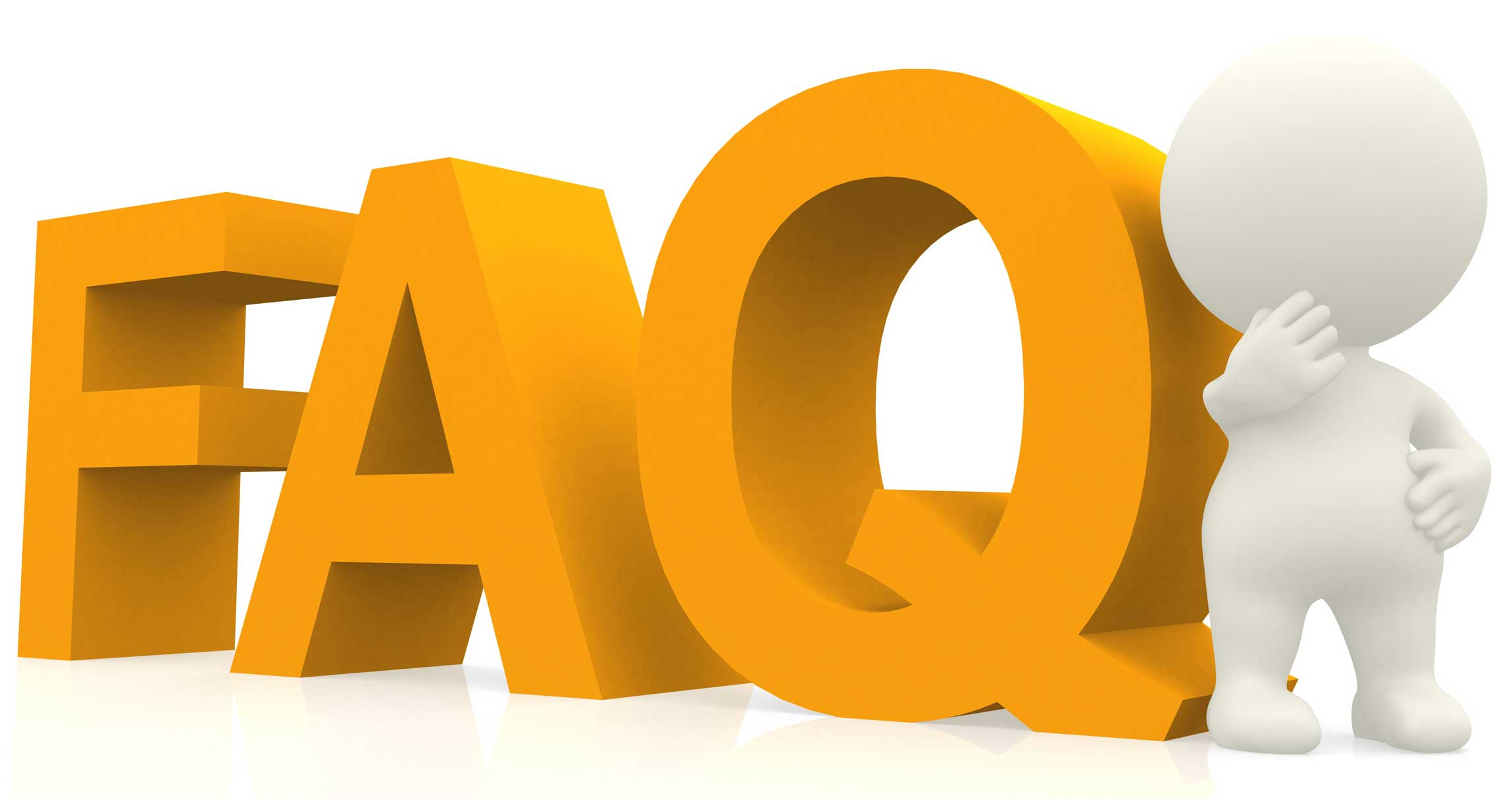 Frequently asked questions FAQ banner. Computer with